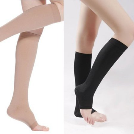 2 Pack Compression Socks, Open Toe, 18-21 mm Hg Graduated Compression Stockings for Men Women, Knee High Compression Sleeves for DVT, Maternity, Pregnancy, Varicose Veins, Relief Shin
