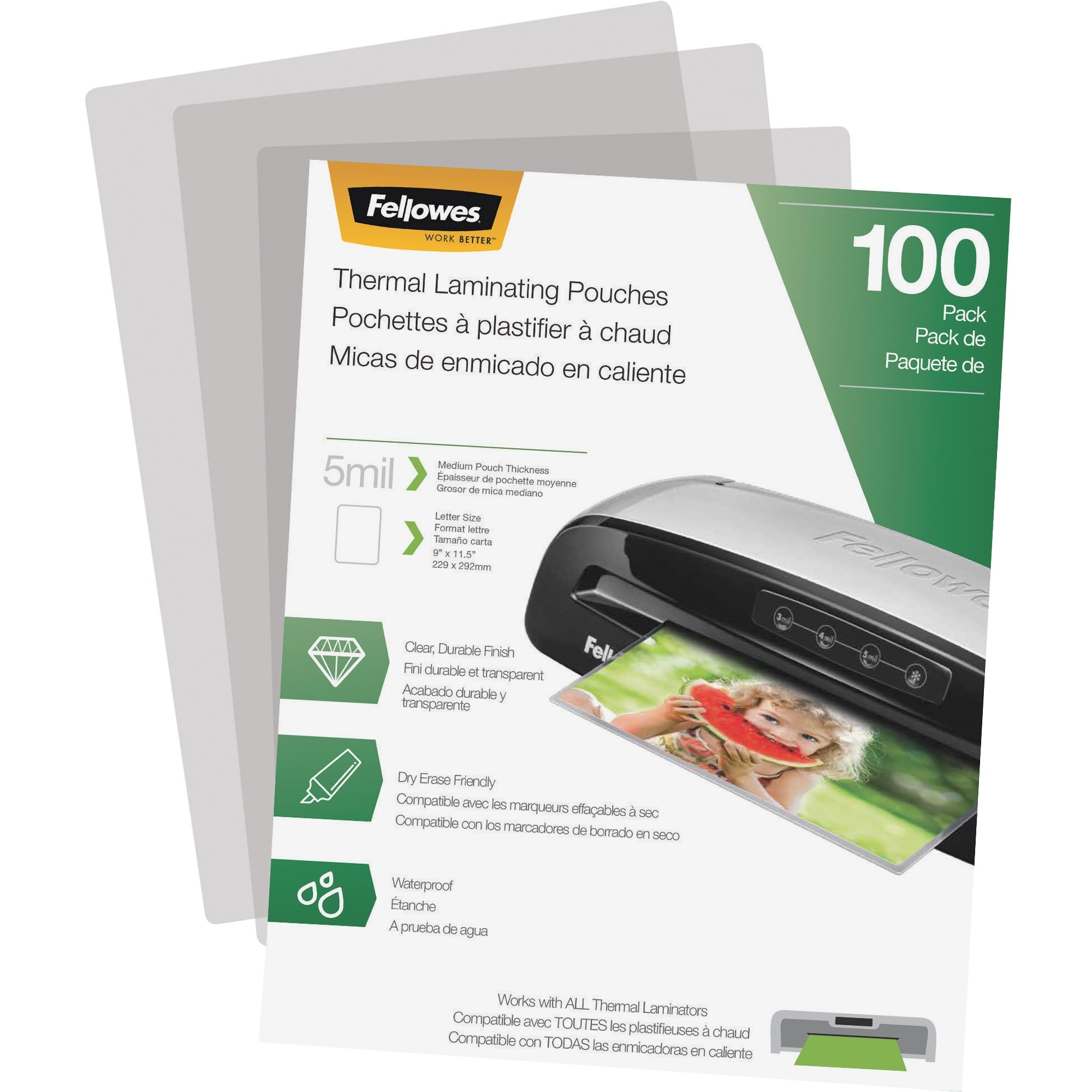 Fellowes Laminating Pouches - Letter, 5 mil, 100 Pack, 100 / Pack, Clear