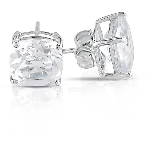 5-1/2 CT TGW White Topaz Solitaire Earrings in Sterling Silver