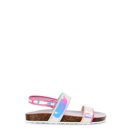 Wonder Nation Iridescent Footbed Slide Sandal (Little Girls & Big Girls)