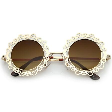 Women's Open Metal Cutout Lace Flat Lens Round Sunglasses 44mm (Gold / Amber) Lavender Womens Sunglasses