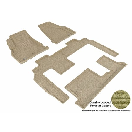 3D MAXpider 2008-2017 Buick Enclave Bench Seating Front, Second, & Third Row Set All Weather Floor Liners in Tan Carpet (Buick Rainier Floor)