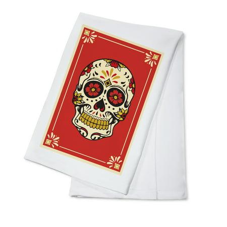 Day of the Dead - Sugar Skull and Flower Pattern - Lantern Press Artwork (100% Cotton Kitchen -