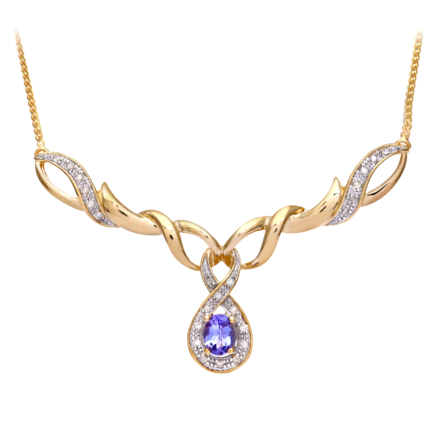 9ct Yellow Gold Tanzanite and Diamond Fig 8 Style Necklace by Revoni