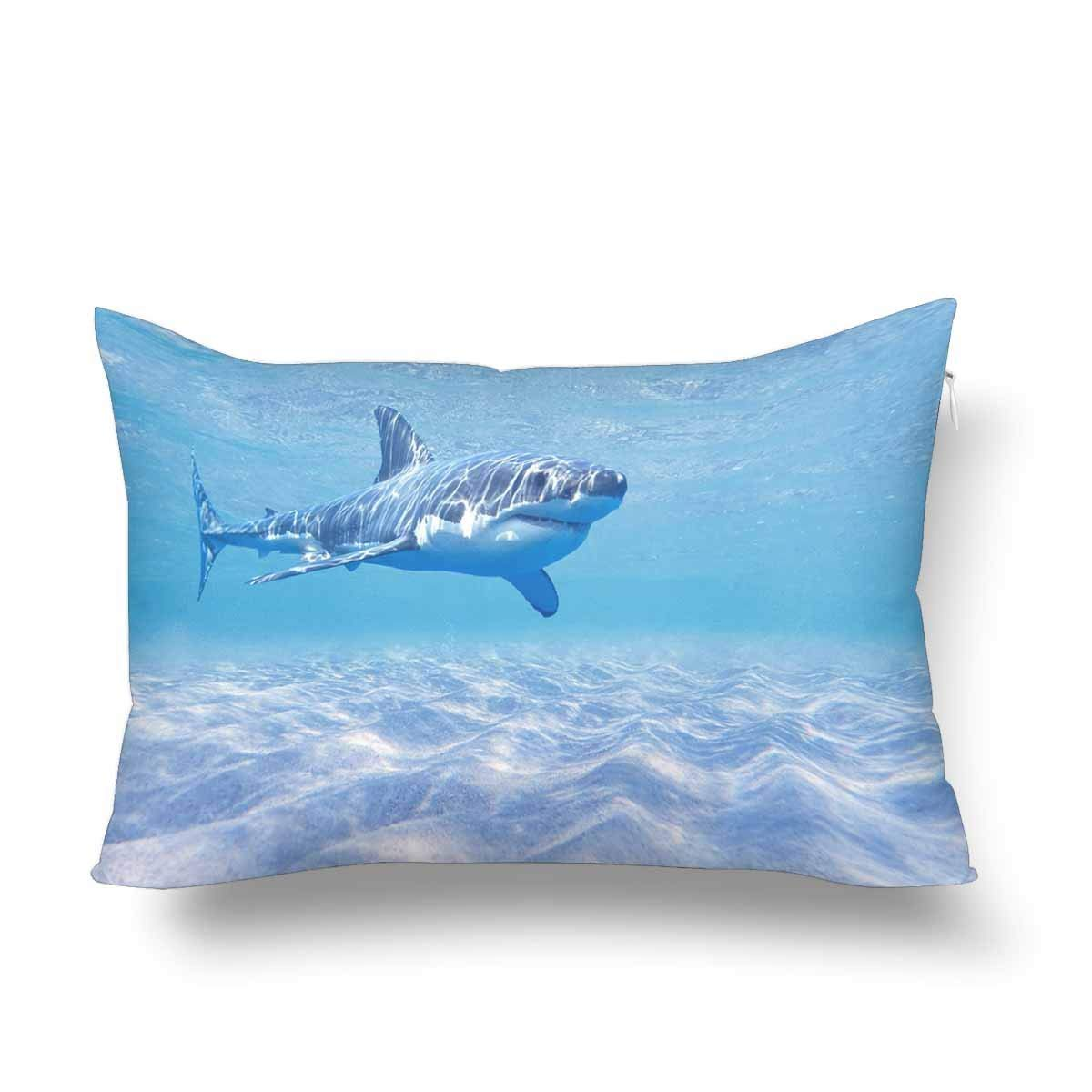 0a9852bfd953 GCKG Great White Shark Swimming Underwater Ocean Summer Pillow Cases  Pillowcase 20x30 inches