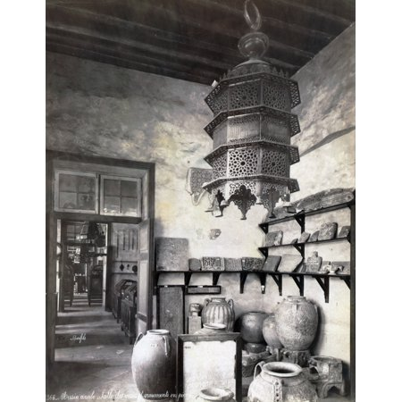 Egypt Cairo Na Museum Room With Urns On The Floor Fragments Of Tablets On Shelves And A Large Lamp Hanging From The Ceiling Probably In The Museum Of Arab Art Cairo Egypt Photograph Mid Or Late 19Th C (Floor To Ceiling Pole Shelves)