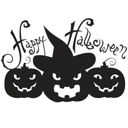 Qiilu Halloween Pumpkin Sticker Living Room Bedroom Backdrop Wall