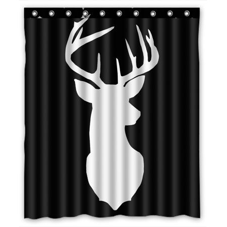 ZKGK Deer Silhouette Waterproof Shower Curtain Bathroom Decor Sets With Hooks 66x72 Inches