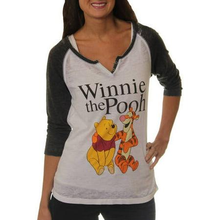 cfaa5ae7 Disney - Women's Winnie the Pooh and Tigger Graphic Baseball T-Shirt -  Walmart.com