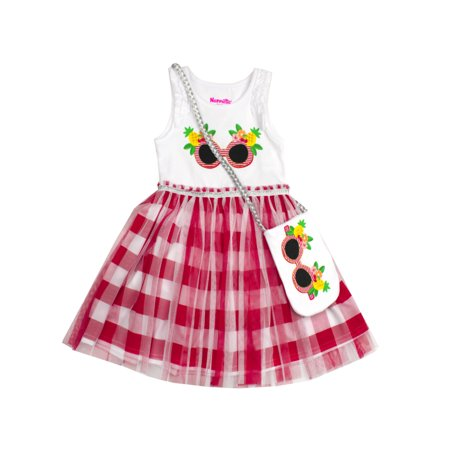 Glitter Pineapple and Gingham Dress with Purse (Little Girls)