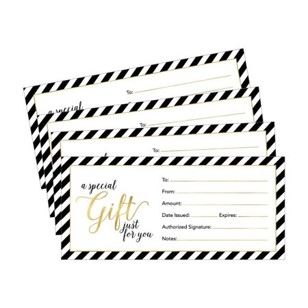 25 4x9 Cute Blank Gift Certificate Cards For Business