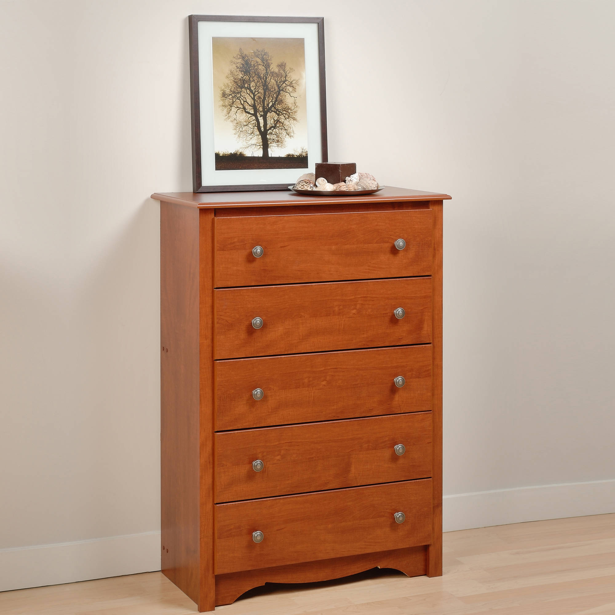 Prepac Edenvale 5-Drawer Dresser, Cherry (Box 1 of 2) by Prepac