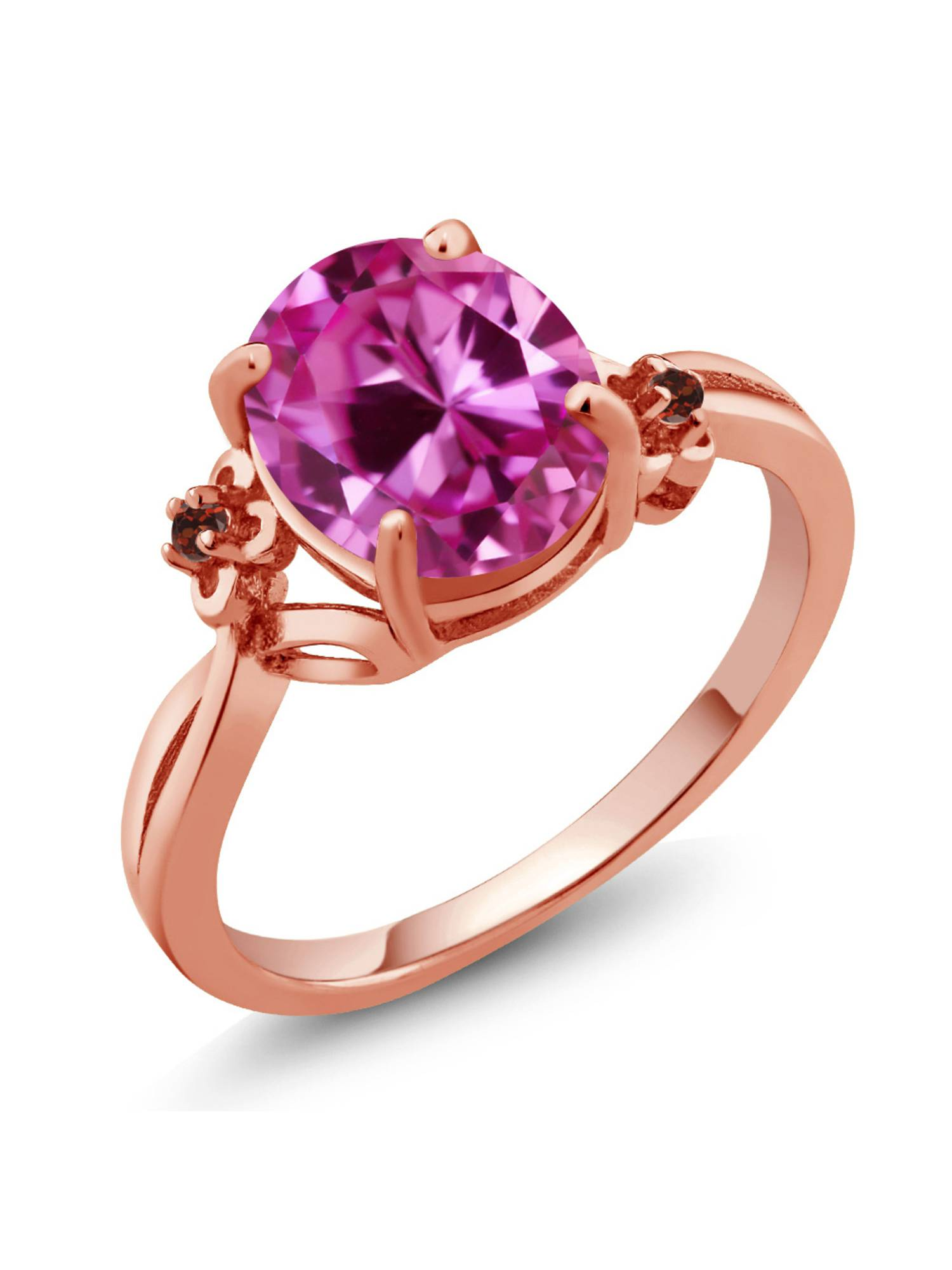 3.29 Ct Oval Pink Created Sapphire Red Garnet 14K Rose Gold Ring by