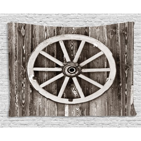 Barn Wood Wagon Wheel Tapestry, Retro Wheel on Timber Wall Barn House Village Cart Circle, Wall Hanging for Bedroom Living Room Dorm Decor, 80W X 60L Inches, Dark Brown and White, by Ambesonne