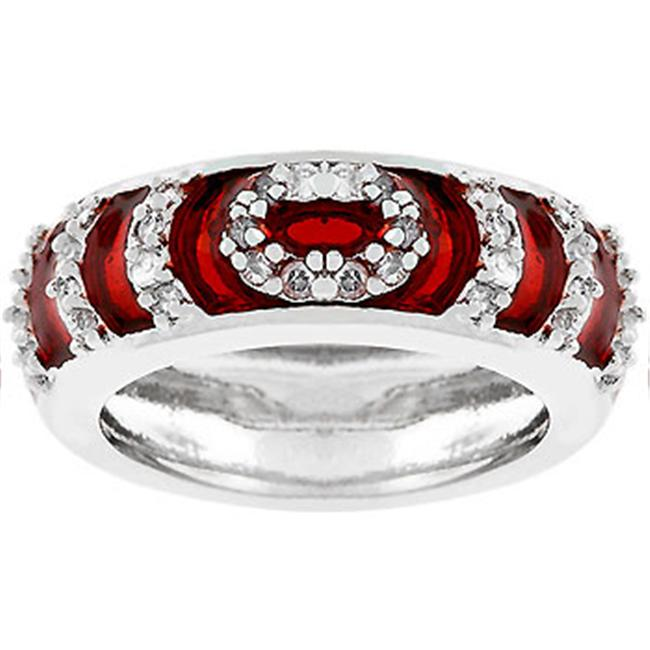 Sunrise Wholesale J2273 Garnet Enamel Ripple Ring - Size 05