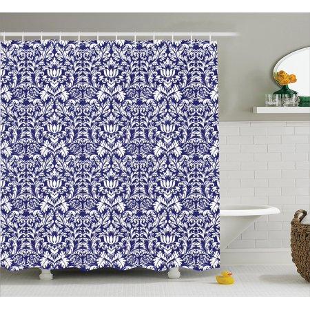 Damask shower curtain set mosaic pattern of royal blue for Bathroom decor royal blue