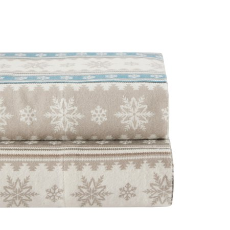 Woolrich  Nordic Snowflake Cotton Flannel Sheet Set 2-Color Option Woolrich Womens Flannel