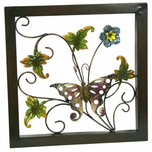 Pinnacle Strategies Metal Pink Flower With Butterfly Wall Plaque  A03849-1-UPS