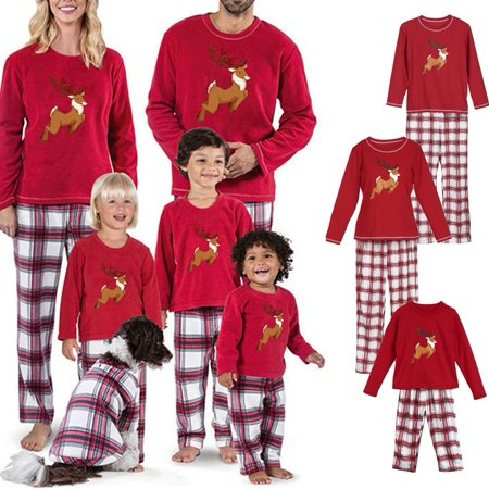 Hot Family Matching Christmas Pajamas PJs Set Xmas Sleepwear Nightwear Tops+Pants ()