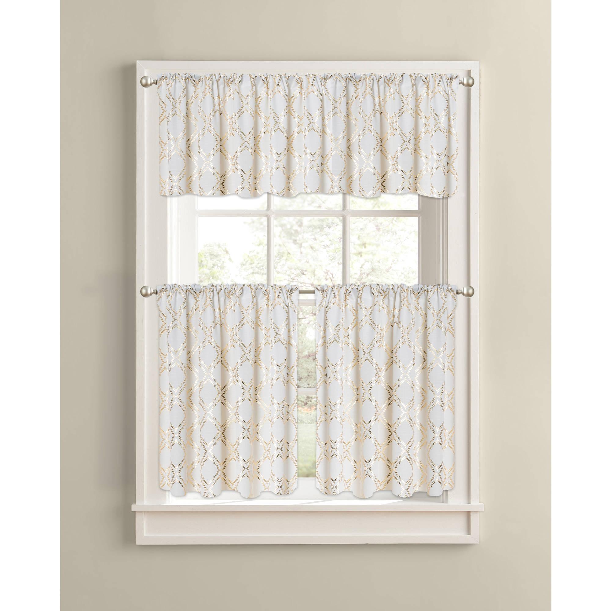 Charming Better Homes And Gardens Metallic Gold Trellis Kitchen Curtains, Set Of 2    Walmart.com