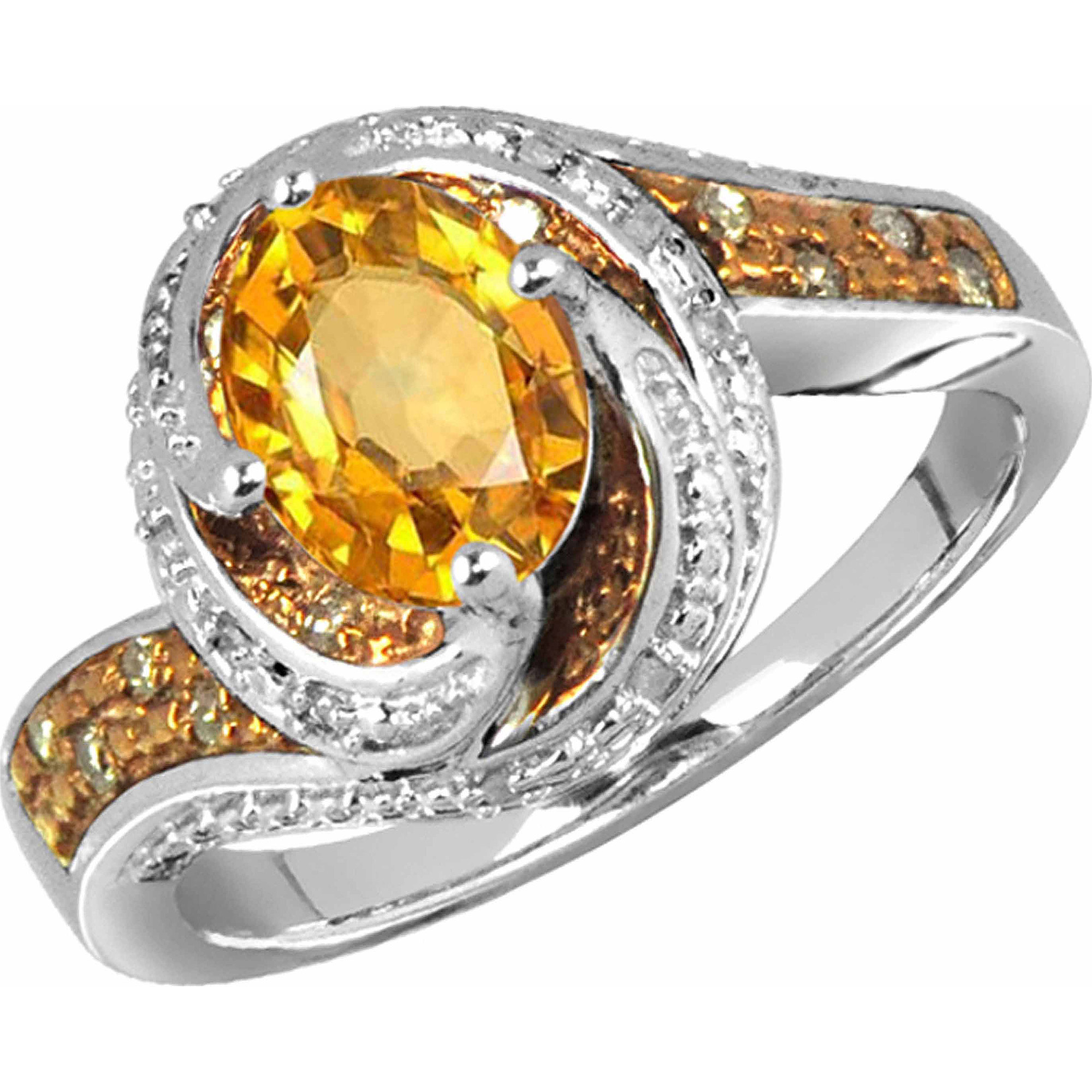 JewelersClub 1.11 Carat T.G.W. Citrine Gemstone & 1/10 Carat T.W. Champagne & White Diamond Ring in Sterling Silver