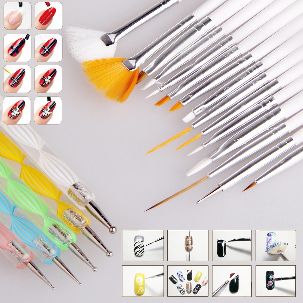 20pcs Nail Art Design Set Dotting Painting Drawing Polish Brush Pen ...