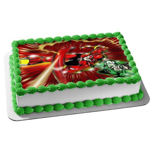 Surprising Flash Green Lantern The Brave And The Bold Edible Cake Topper Funny Birthday Cards Online Amentibdeldamsfinfo