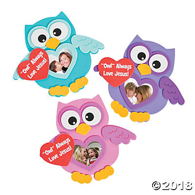 Religious Valentine Owl Picture Frame Magnet Craft Kit (Pack of 6) by
