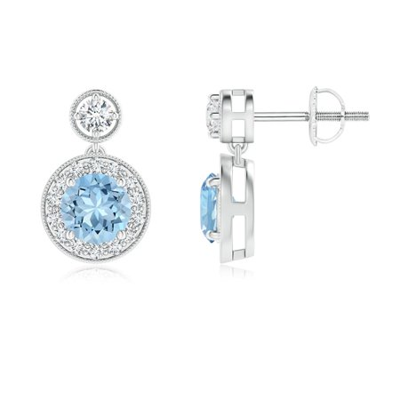 March Birthstone Earrings - Dangling Aquamarine and Diamond Halo Earrings with Milgrain in 14K White Gold (5mm Aquamarine) - SE1066AQD-WG-AAA-5 Ocz Platinum 1066