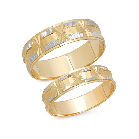 14k Yellow Gold Design Band (His and Hers 14K Solid White and Yellow Gold Matching Snowflake Design Wedding Band Ring)