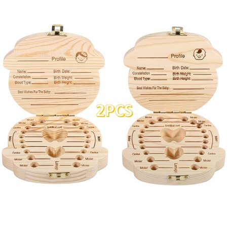 WALFRONT 2PCS Baby Tooth Box Kids Boys Girls Wooden Keepsake Teeth Organizer Children Teeth Container Deciduous Souvenir Box Gift