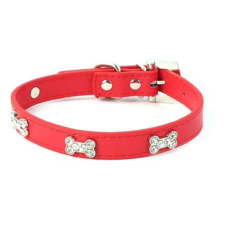 Metal Buckle Faux Leather Artificial Rhinestone Bone Decor Dog Collar Size M