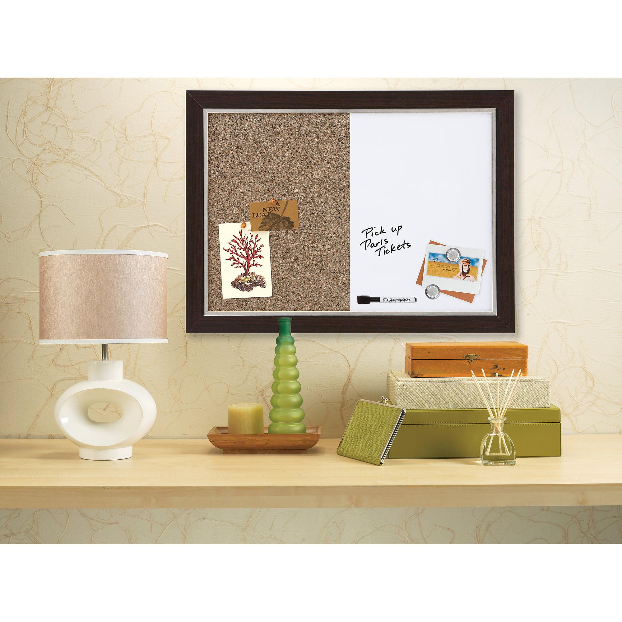 "Quartet Home Decor Combination Board, 17"" x 23"", Dry-Erase/Cork, 2-Tone Frame"