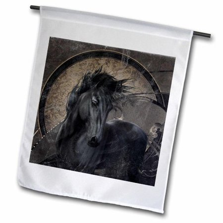 3dRose A Glorious Friesian Horse in Gothic Look Polyester 1