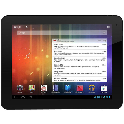 "Ematic EGS108 8"" Genesis Prime Multi-Touch Tablet, 4GB, Android 4.1, Black"