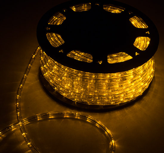 50ft LED Rope Lights 110V 2 Wire Flexible Home Party DIY Xmas Lighting Outdoor Christmas- Yellow