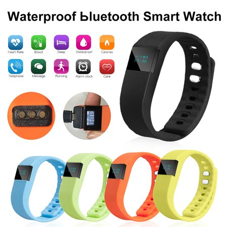 TW64 USB bluetooth Pedometer Smart Wrist Watch Bracelet Waterproof for Android IOS, Blue/ Yellow/ Orange/ Black/