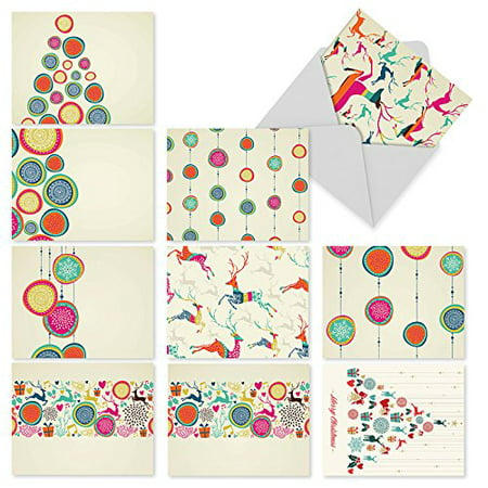 'M6017 HAPPY HOLIDAYS' 10 Assorted All Occasions Notecards Featuring Modern Takes On Traditional Seasonal Symbols with Envelopes by The Best Card