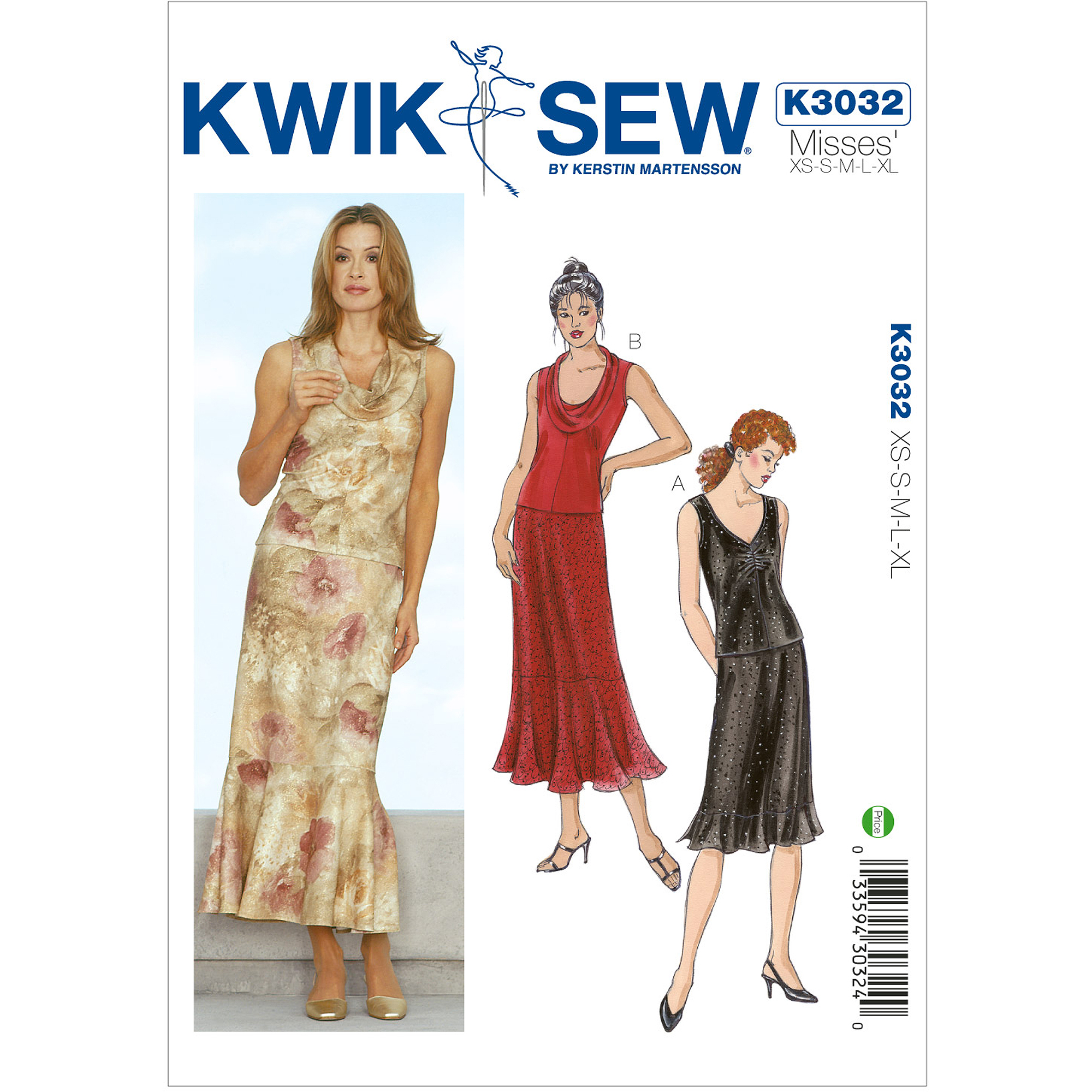 Kwik Sew Pattern Tops and Skirts, (XS, S, M, L, XL)