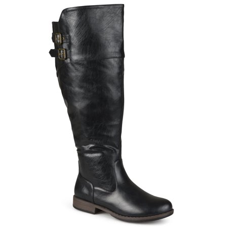 f65188fd34d9 Journee Collection - Journee Collection Women s Extra Wide Calf  Tori   Double-Buckle Knee-High Riding Boot - Walmart.com