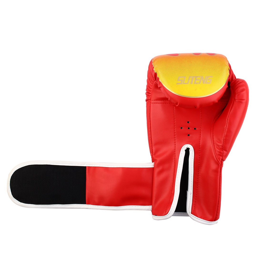 SUTENG Authorized Adult PU Fire Print Sparring Punching Bag Mitts Kickboxing Boxing Gloves Pair Red - image 2 de 3