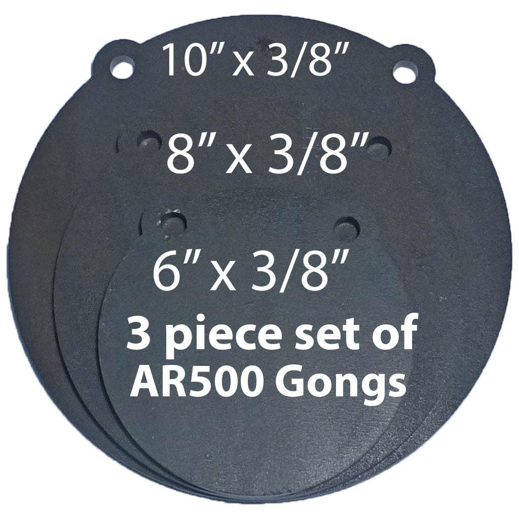 "AR500 Steel Targets Lot of 3 Laser Cut Set 6, 8,10"" x 3/8"" Shooting Target Gong"