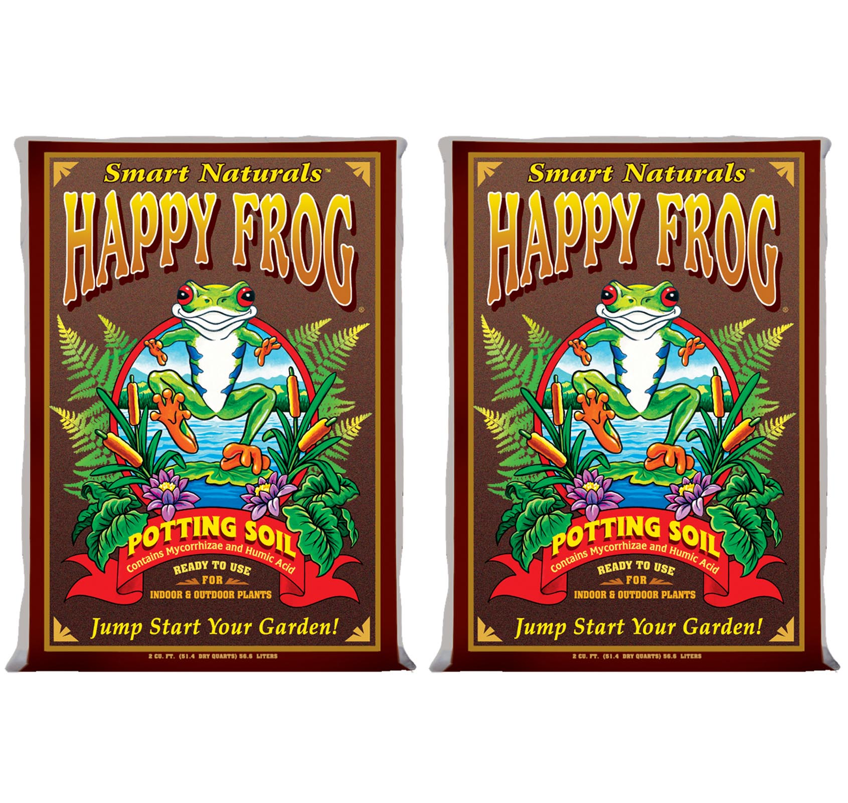 (2) FOXFARM FX14047 pH Adjusted Happy Frog Organic Potting Soil Bags | 4 Cu Ft