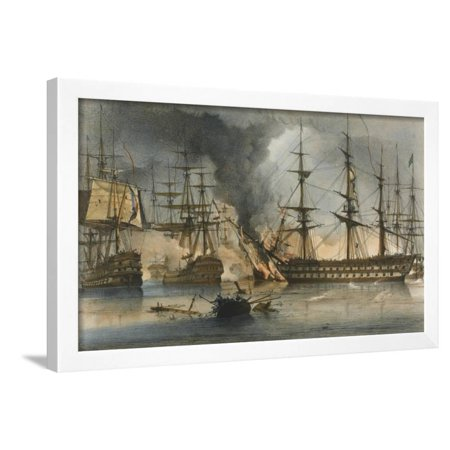 The Naval Battle of Navarino on 20 October 1827 Framed Print Wall Art By George Philip Reinagle