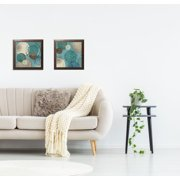 Gango Home Decor Abstract Circle Patterned Wall Art ; Two Blue 12x12in Art Prints in Brown Frames