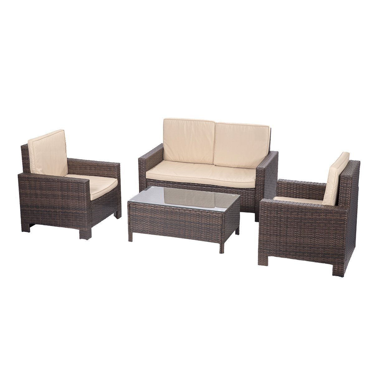 Patio Sofa Wicker Ranttan Outdoor Furniture Set Sectional Furniture 4 Pcs PE Wicker Rattan... by FDW