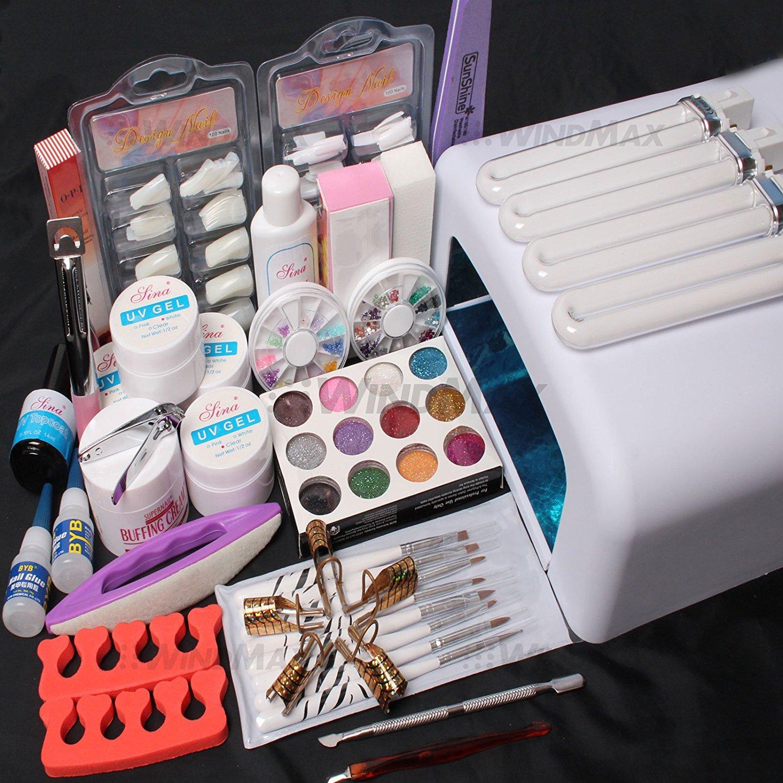 26in1 Nail Art Tips UV Builder Gel Brush 36W Timer Der La...