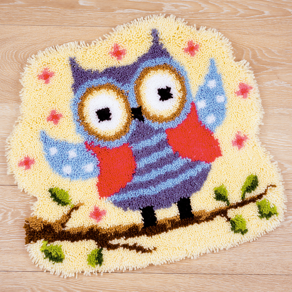 """Vervaco Shaped Rug Latch Hook Kit 20""""x22""""-Funny Owlet On A Branch"""