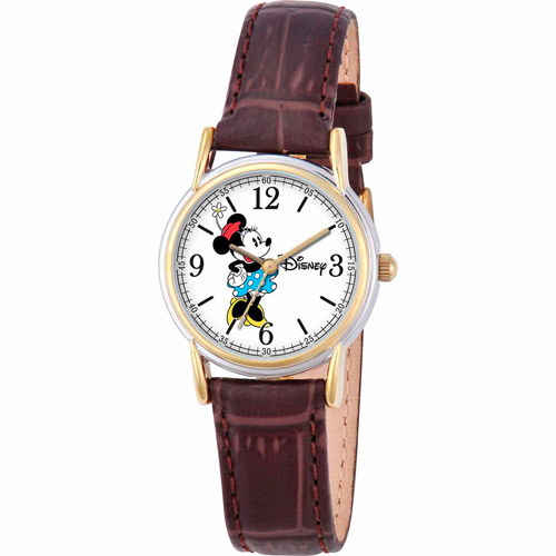 Disney Minnie Mouse Women's Cardiff Watch, Brown Strap