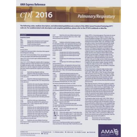 CPT 2016 Express Reference Coding Card Pulmonary/Respiratory